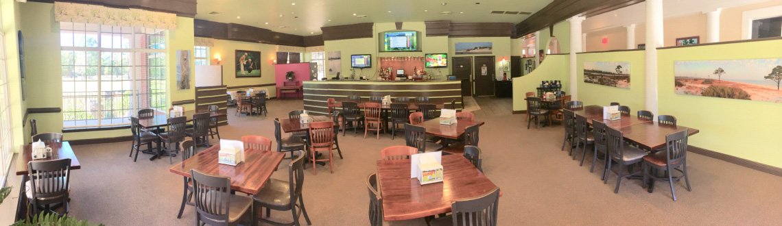 A panoramic view of the Shell Landing Golf Club restaurant